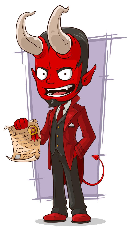 拿着契约的卡通恶魔矢量插图