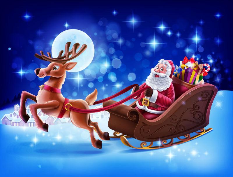 矢量送礼物的圣诞老人