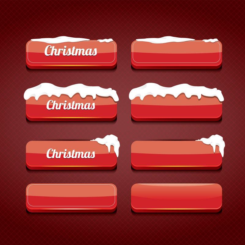矢量的红色圣诞按钮设计