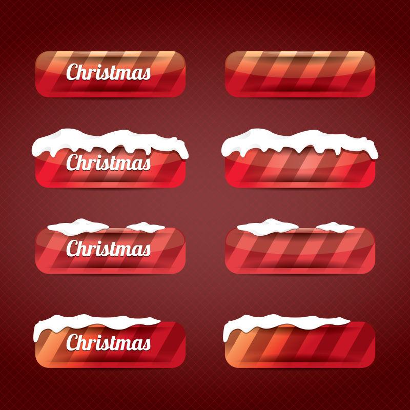圣诞主题的网页按钮矢量设计