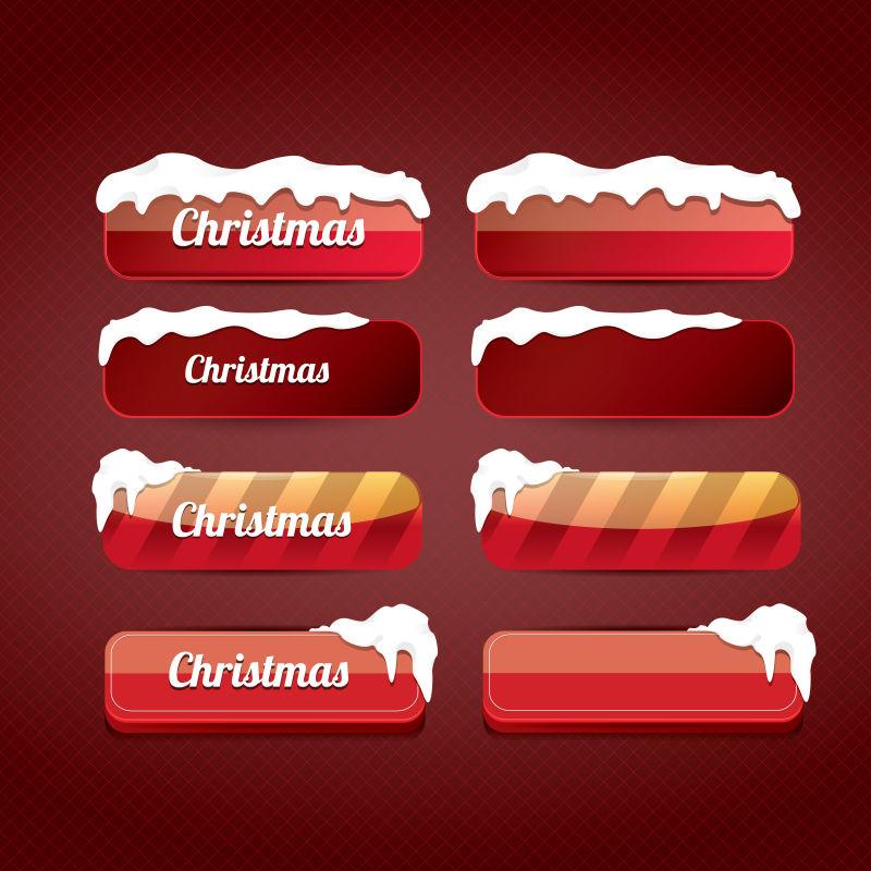 矢量的圣诞节主题按钮设计