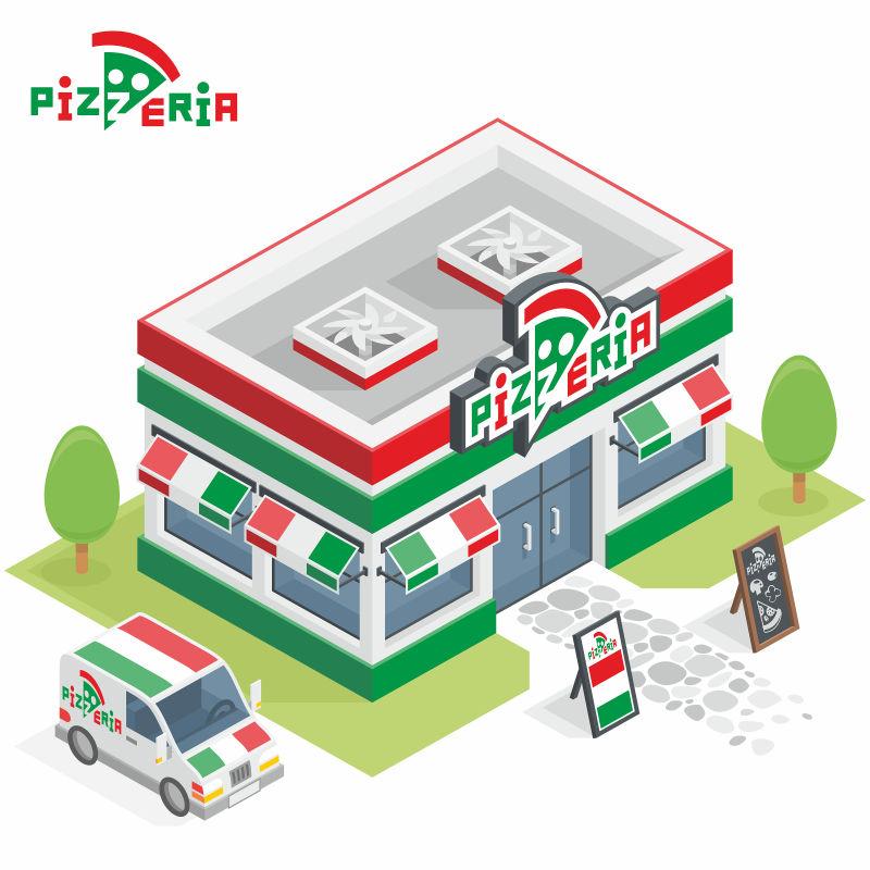 匹萨店大楼矢量插图