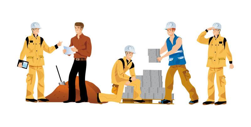 矢量建筑工人的创意插图