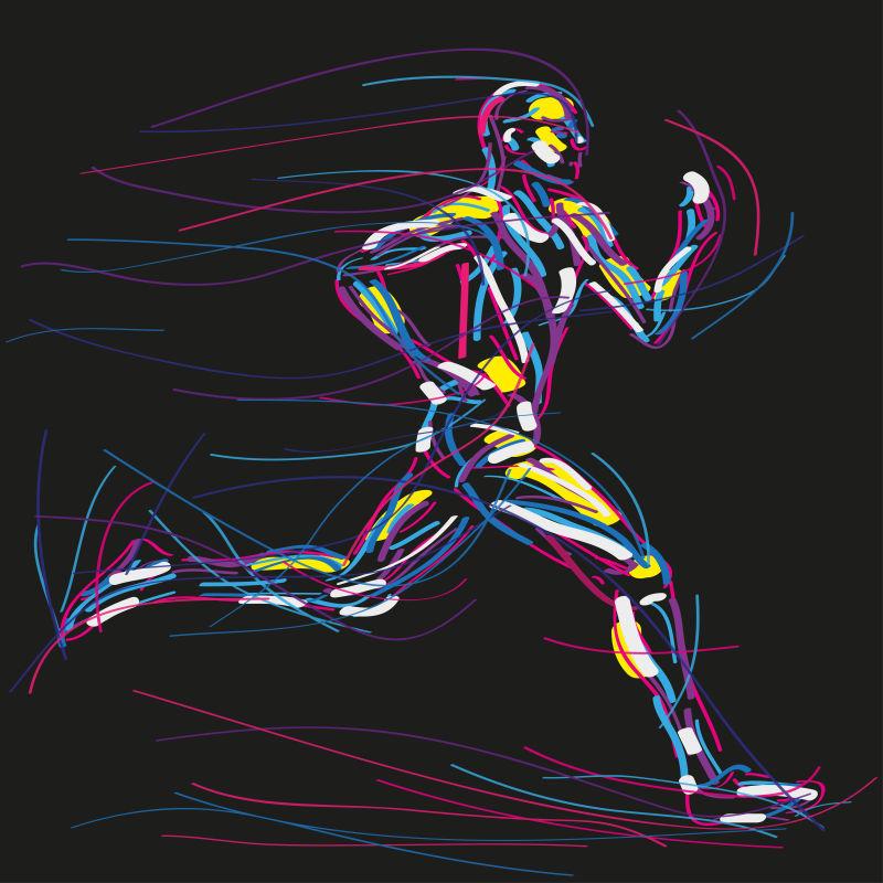 奔跑的人抽象的水彩插图矢量