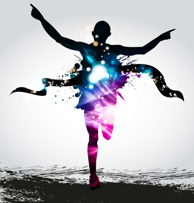 马拉松运动员矢量的彩色轮廓