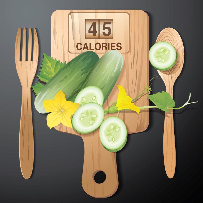 矢量黄瓜的卡路里插图