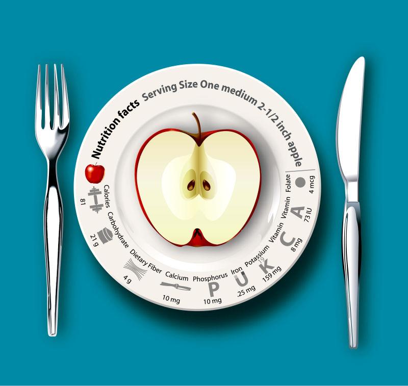 矢量白盆里的苹果插图