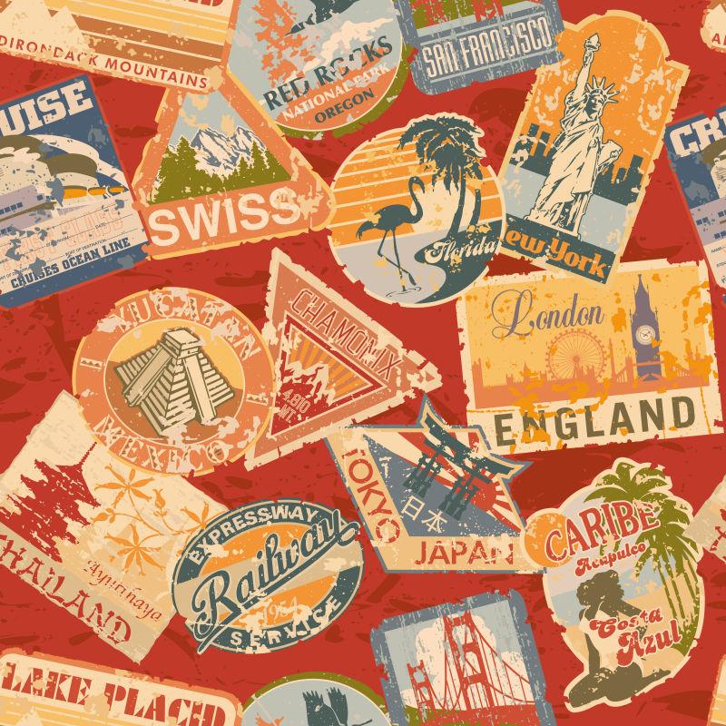 破旧的世界旅行标签矢量设计