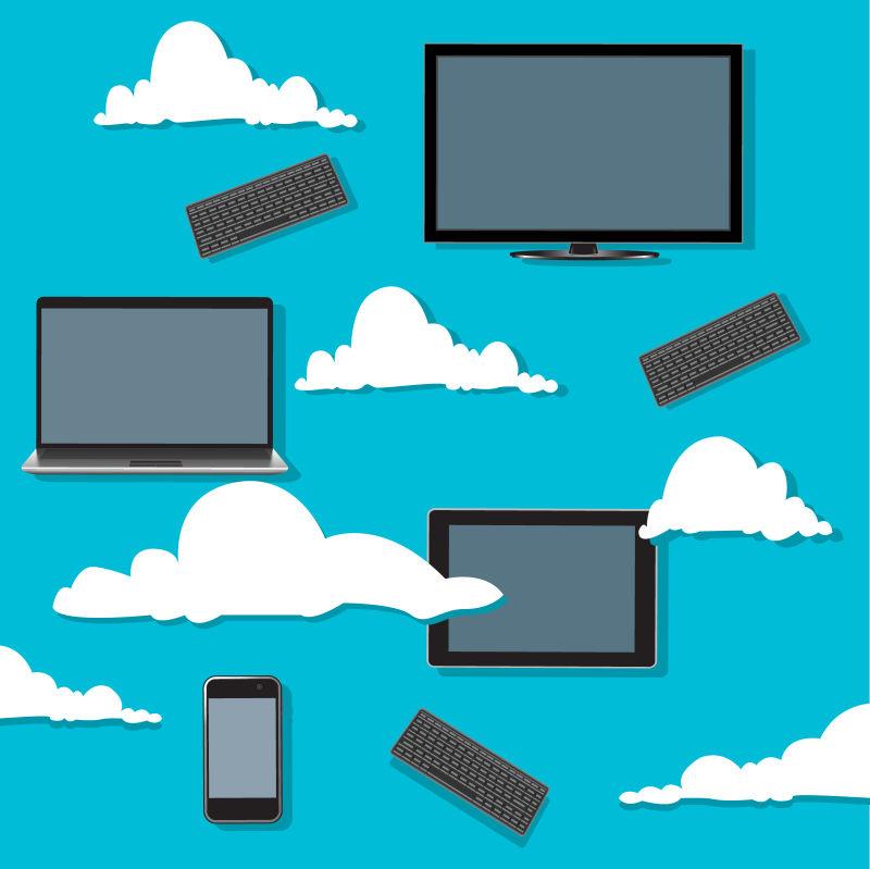 云端上的电子产品矢量概念插图