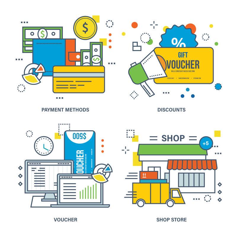 创意矢量商业营销概念的图标设计