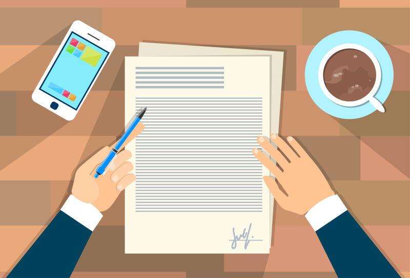 矢量签订合同的创意矢量插图设计