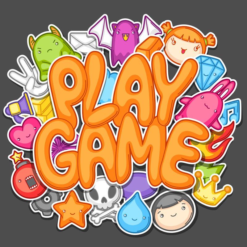 创意矢量可爱的游戏设计元素
