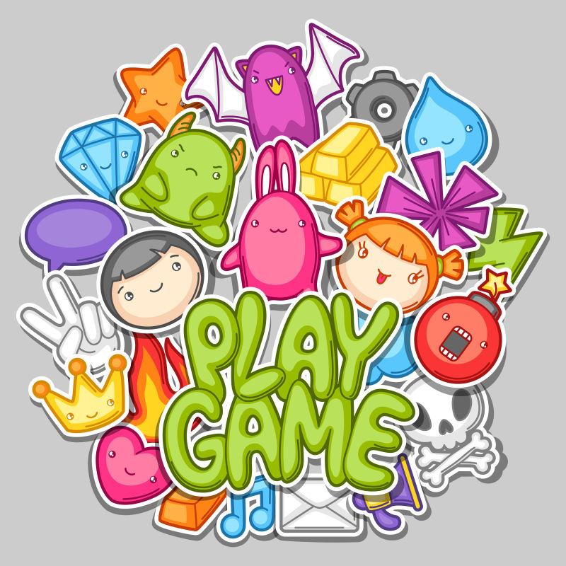 矢量可爱的游戏元素平面设计