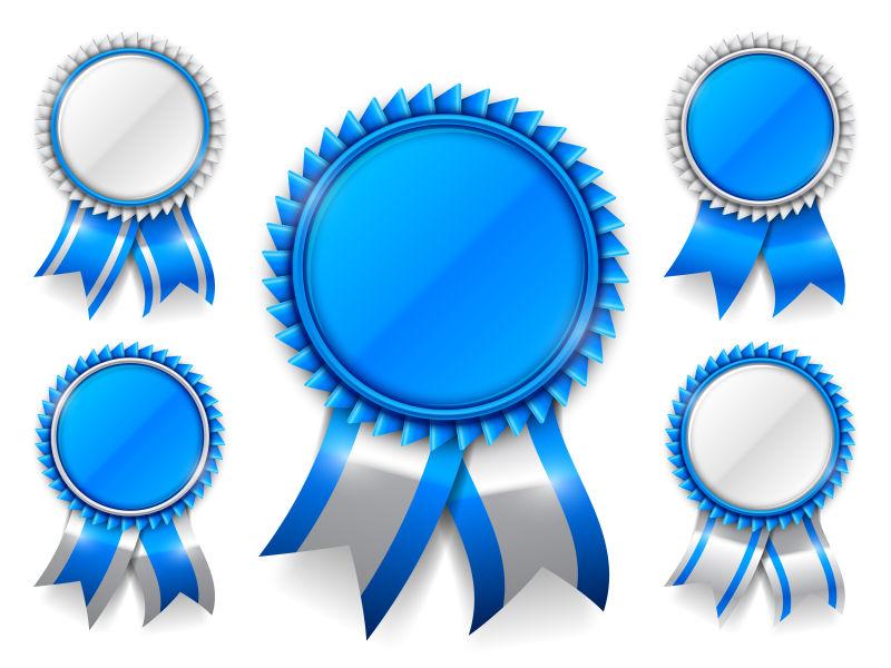 矢量蓝色奖章