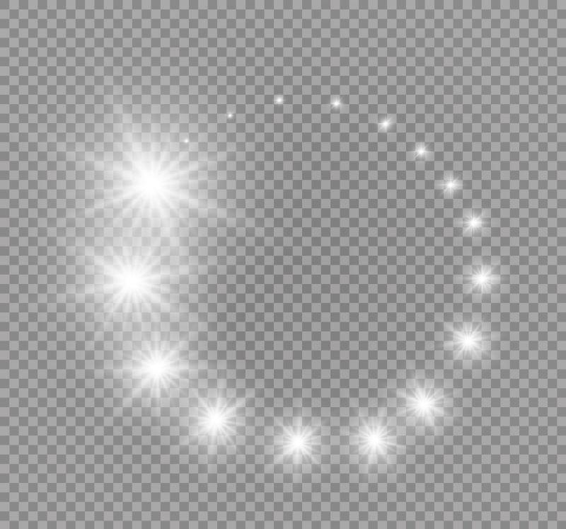 矢量透明闪烁圈形星星