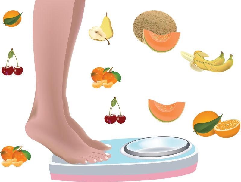 水果瘦身矢量插图设计