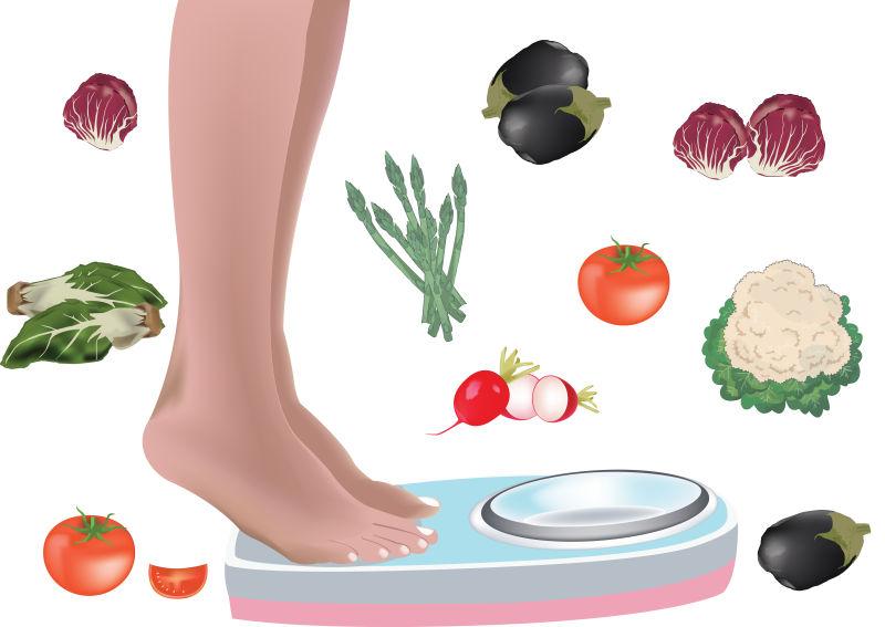 蔬菜瘦身插图矢量设计