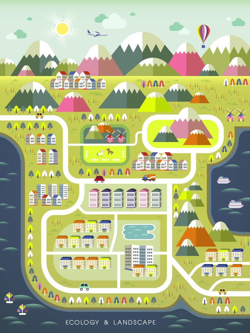 创意矢量生态概念的城市小镇规划设计