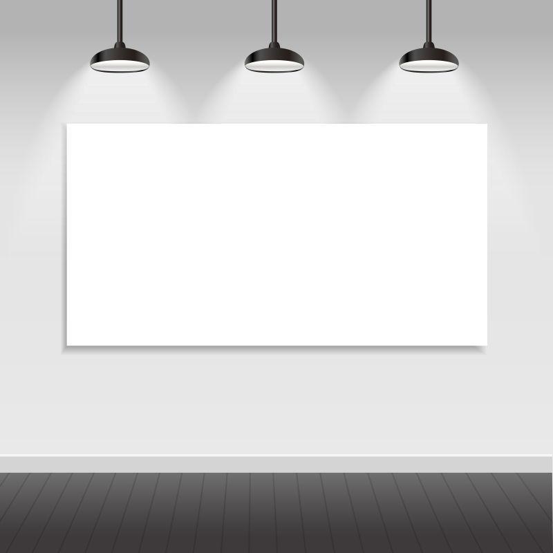 墙上的空白海报和吊灯