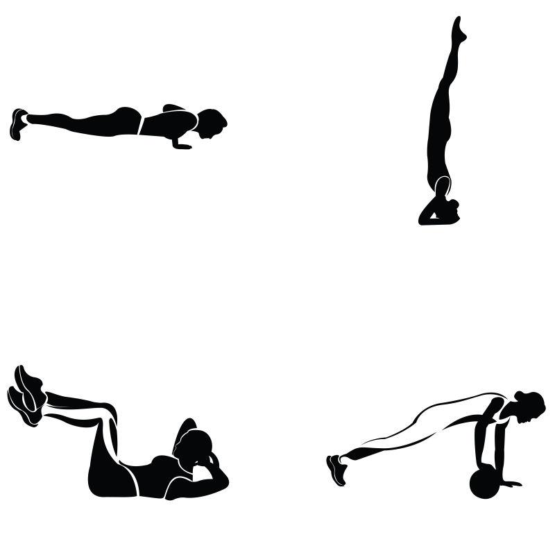 矢量健身运动的女人剪影插图