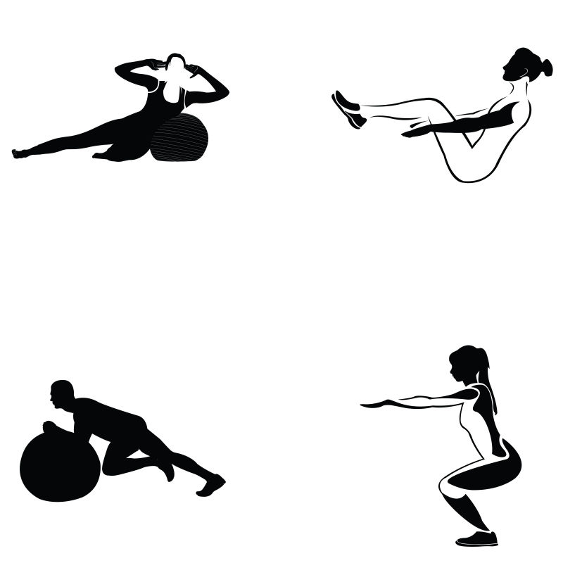 矢量健身运动的剪影插图设计