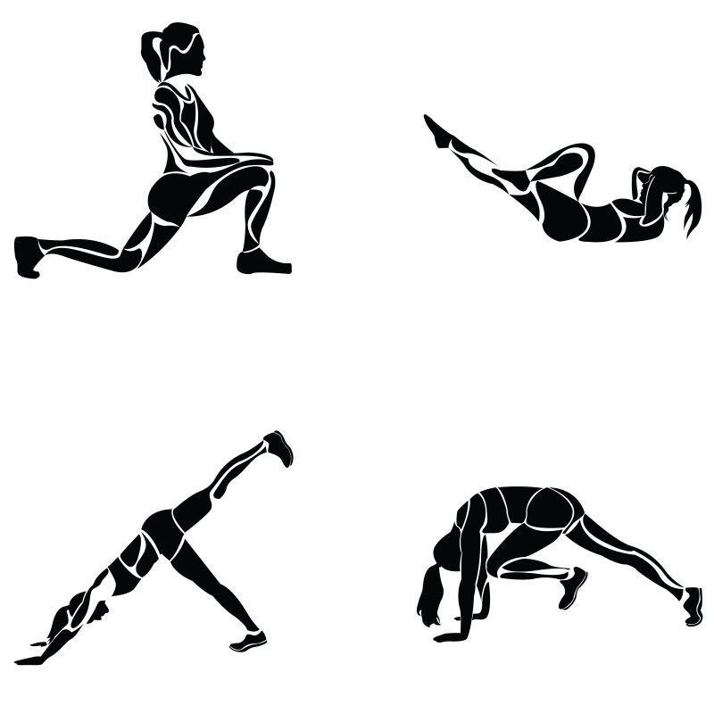 创意矢量认真做运动的女人剪影