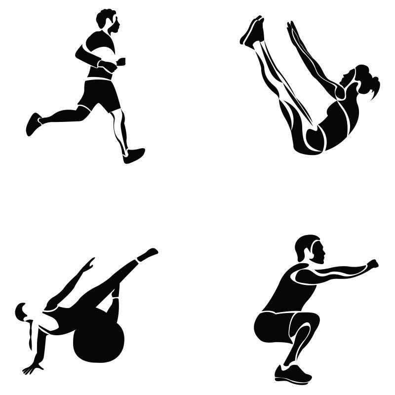 矢量创意健身中的男人剪影插图