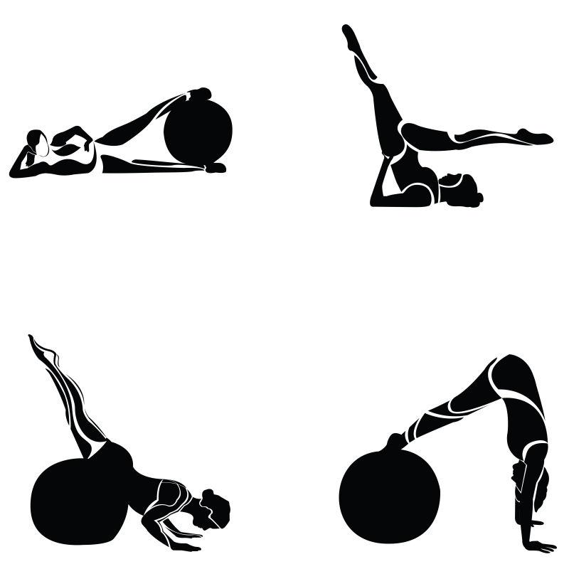创意矢量做瑜伽球运动的女人剪影插图