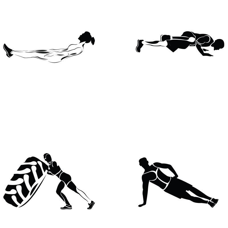 矢量健身运动剪影插图