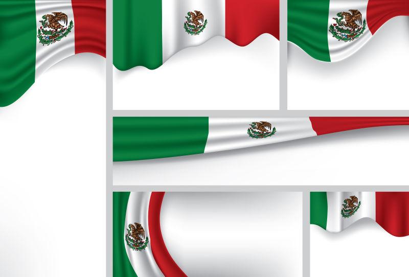 墨西哥国旗矢量插图