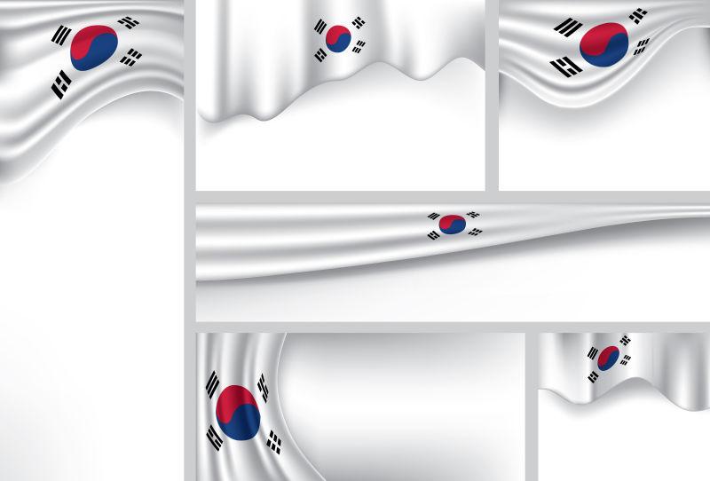 矢量的韩国旗帜细节插图