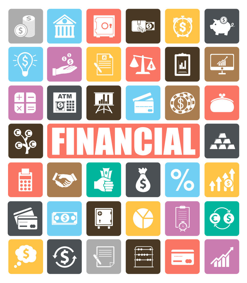 创意矢量金融概念图标设计