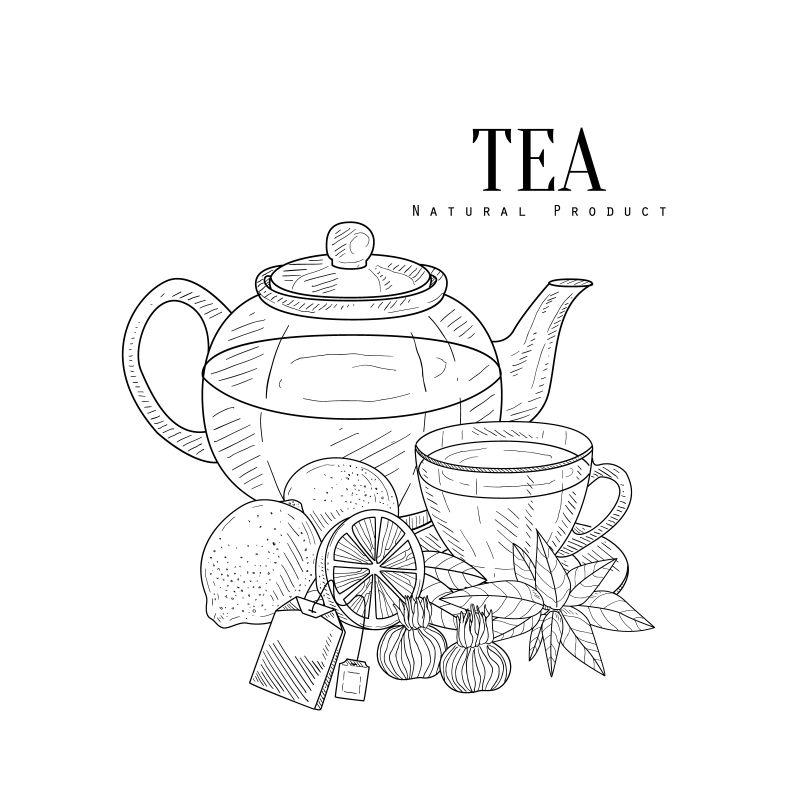 矢量创意茶饮的线条插图