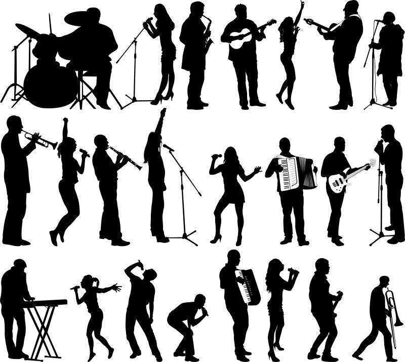 矢量乐队音乐家的剪影插图