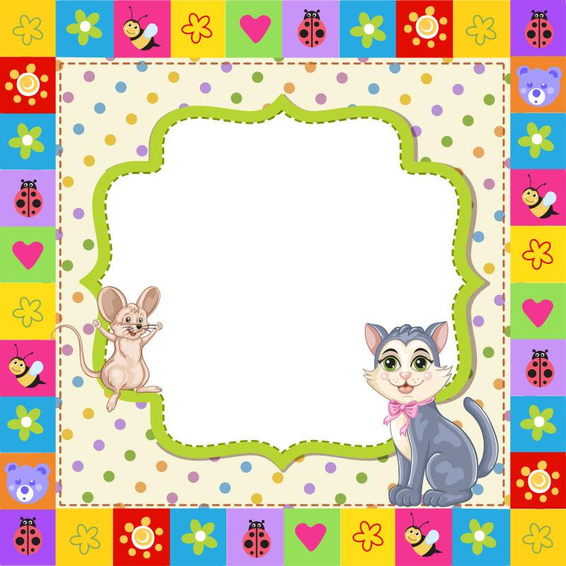 灰色小猫图案卡片矢量设计