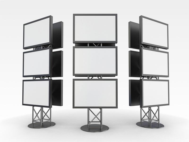 白色背景下的空白广告展示架