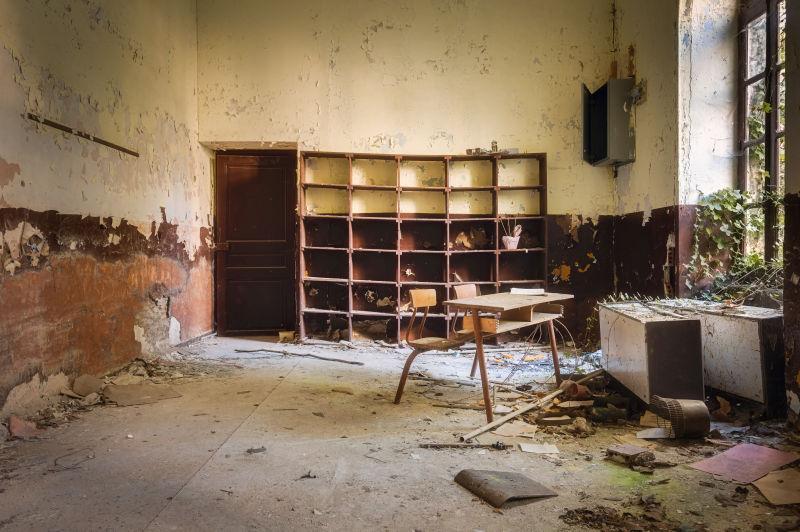 废弃的学校档案室