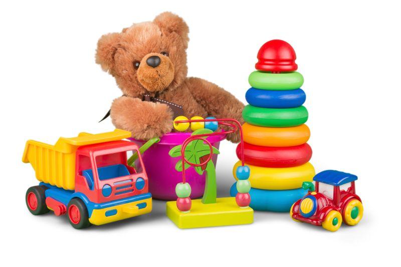 白色背景上各种小孩的玩具