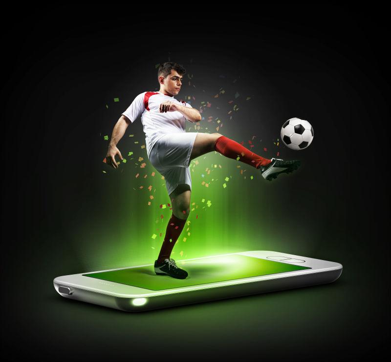 在手机上的虚拟足球运动员