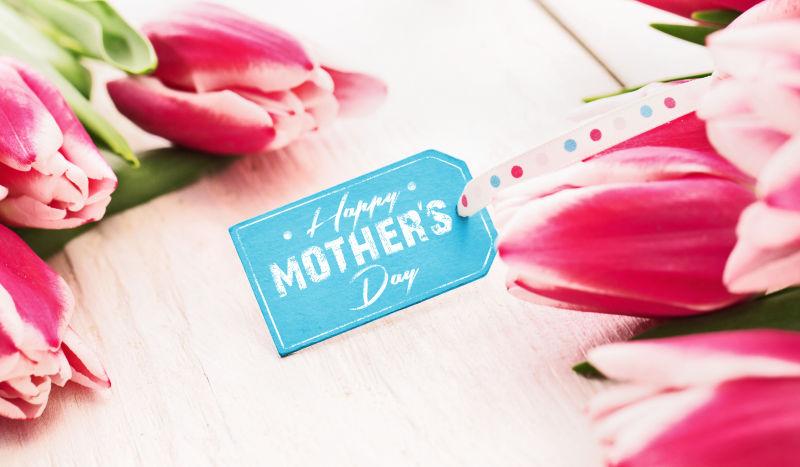 母亲节标签和郁金香
