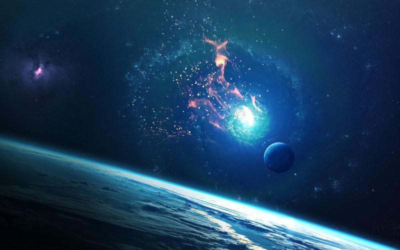 行星在宇宙太空中