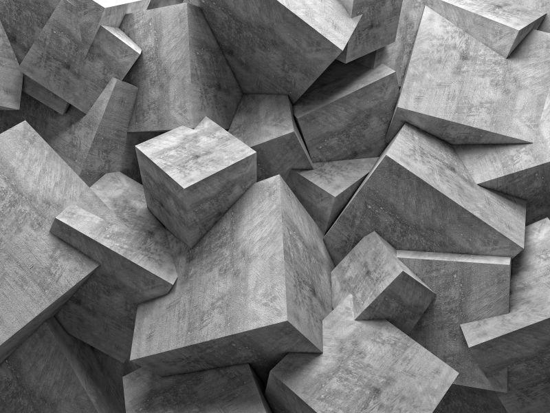抽象的几何立方体形状混凝土墙壁