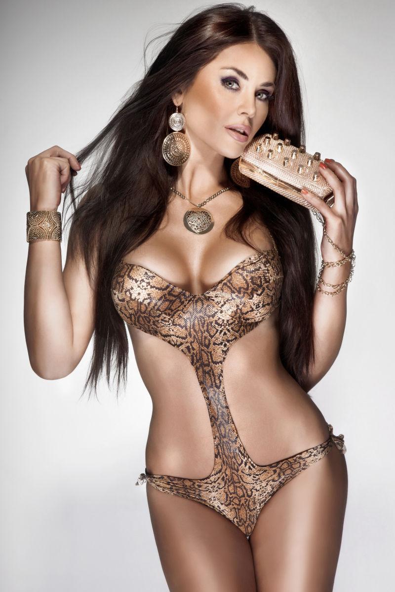 穿着豹纹内衣的性感美女
