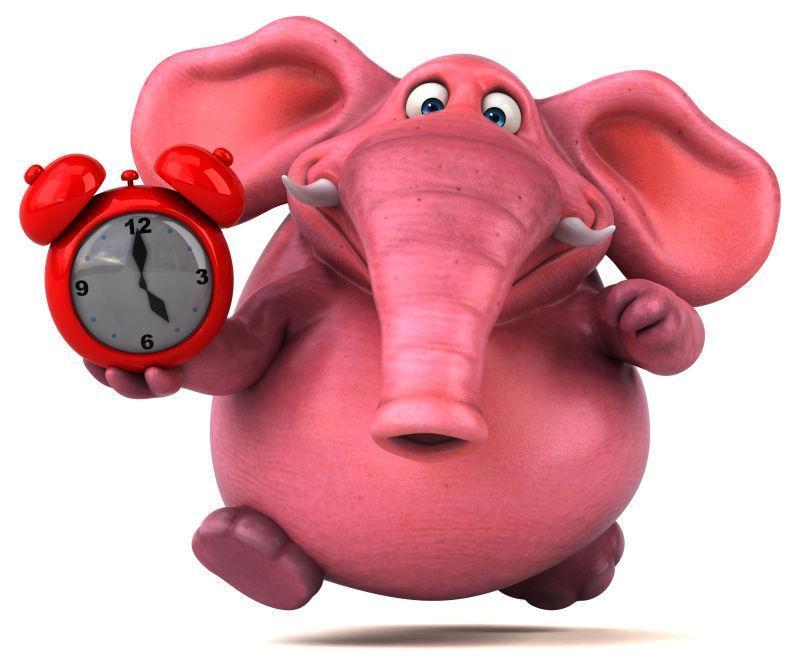 拿着闹钟的3D粉红象