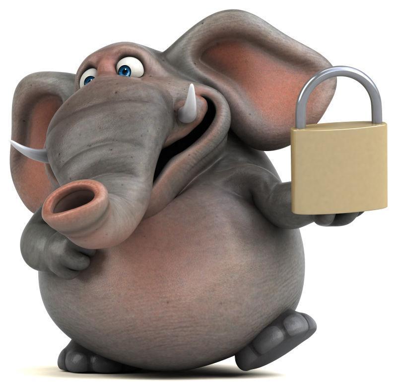 3d卡通大象拿着锁子