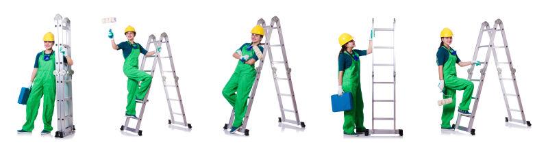建筑工人和梯子