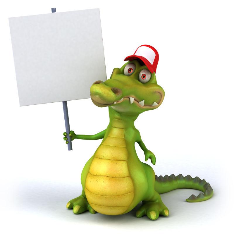 举着拍色牌子的鳄鱼