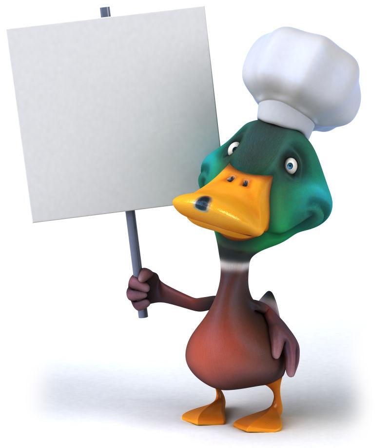 举着白色牌子的绿鸭