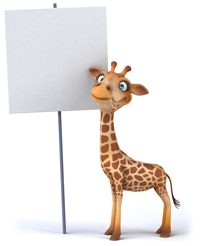 站在白色牌子边上的长颈鹿
