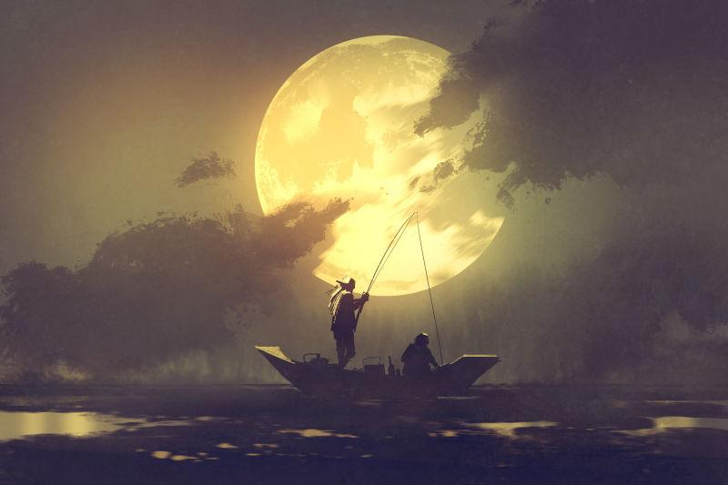 渔人剪影船上渔船大月亮背景画插图